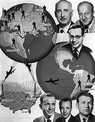 NBC News - NBC News had close to 700 correspondents and cameramen in 1961 who were stationed throughout the world.  Film was received in the United States by plane or by the jointly operated NBC-BBC transatlantic film cable.