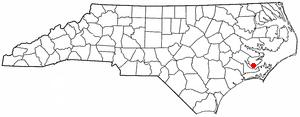 Minnesott Beach, North Carolina - Image: NC Map doton Minnesott Beach