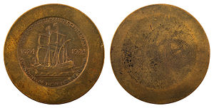 Huguenot-Walloon half dollar - Uniface die trial of the reverse, in the National Numismatic Collection