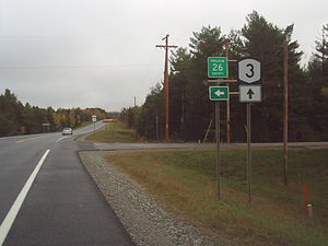New York State Route 3 - NY 3 eastbound at Franklin CR 26 (former NY 99) in the town of Franklin