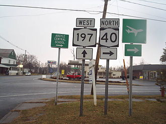 New York State Route 40 - NY 40 northbound at NY 197 in the village of Argyle