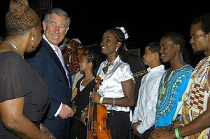 Nadjé Leslie after performing for Prince Charles of Wales and the Duchess of Cornwall
