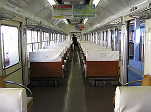 Nagano Electric Railway 2000 series - Interior of MoHa 2002 car, May 2005