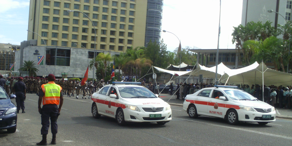 Namibian Military police escorting during parade