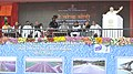 Narendra Modi addressing at the dedication of the National Highway projects to the nation, at Ara, in Bihar on August 18, 2015. The Governor of Bihar, Shri Ram Nath Kovind and the Union Ministers are also seen.jpg