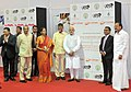 Narendra Modi at foundation stone ceremony of Shri Venkateswara Mobile & Electronics Manufacturing Hub, in Tirupati, Andhra Pradesh. The Governor of Andhra Pradesh and Telangana, Shri E.S.L. Narasimhan (3).jpg
