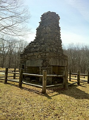 Nathaniel Lyon - A stone chimney with four fireplaces is all that is left of General Nathaniel Lyon's birthplace homestead at Nathaniel Lyon Memorial State Park.