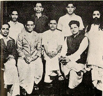 Vinayak Damodar Savarkar - A group photo of people accused in the Mahatma Gandhi's murder case. Standing: Shankar Kistaiya, Gopal Godse, Madanlal Pahwa, Digambar Badge. Sitting: Narayan Apte, Vinayak D. Savarkar, Nathuram Godse, Vishnu Karkare