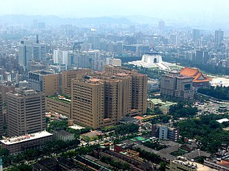National Taiwan University Hospital - The National Taiwan University Hospital consists of several high rise buildings in the center of this picture and several low level buildings at the bottom right of the picture.