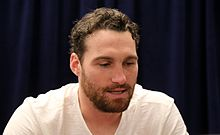 Nationals second baseman Daniel Murphy talks to reporters at 2016 All-Star Game availability. (28410383352).jpg