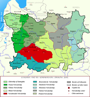 Nowogródek Voivodeship (1507–1795) - Navahrudak Voivodeship within Lithuania, in red. Voivodeship's borders remained until the Union of Lublin which formed the Commonwealth.
