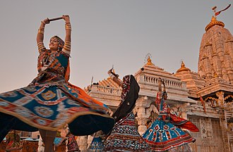 Navaratri - Navaratri festival is an occasion of classical and folk dance performances at Hindu temples. In picture the Ambaji Temple of Gujarat.