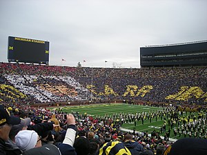 Lloyd Carr - Card stunt honoring Carr prior to a 2011 Michigan football game against Nebraska.