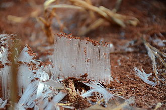 Needle ice - Needle Ice forming in a pile of red clay soil