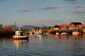 Vega, Norway - View of Nes harbour in Vega