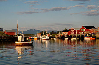 Vega, Norway - View of Nes harbour in Vega