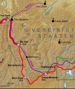 Battle of Camas Creek - The route of the Nez Perce (red) and General Howard (purple) to the Battle of Camas Meadows.