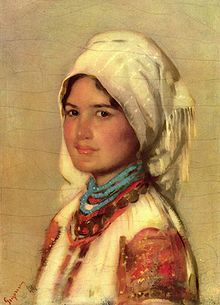 42afca6bd7304 A Romanian girl with maramă on the head. Painting by Nicolae Grigorescu