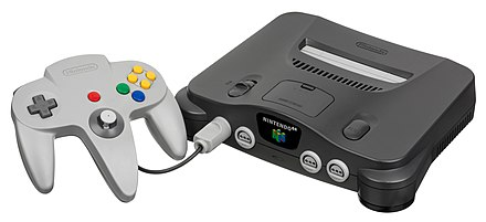 The Nintendo 64, named for its 64-bit graphics, was Nintendo's first home console to feature 3D computer graphics Nintendo-64-wController-L.jpg