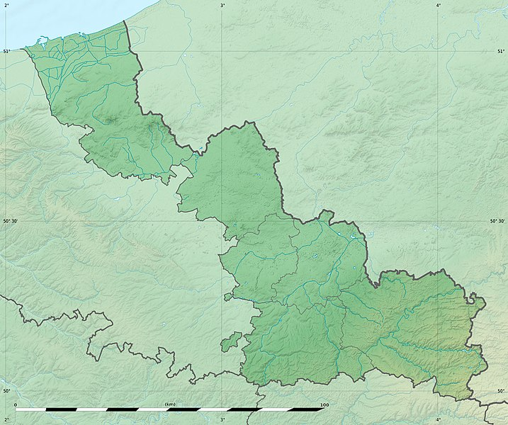 Blank physical map of the department of Nord, France, for geo-location purpose, with distinct boundaries for regions, departments and arrondissements.
