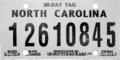 North Carolina temporary tag, 2003.png