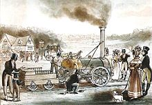 Crowd standing around a steam locomotive