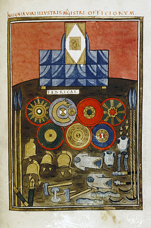 Scholae Palatinae - The insignia of the Western scholae, from the Notitia Dignitatum.