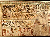 Nubian Tribute Presented to the King, Tomb of Huy MET DT221112.jpg