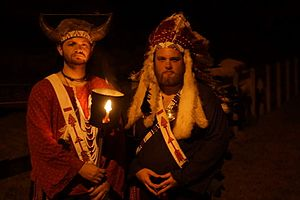 Order of the Arrow - Arrowmen dress in American Indian-style regalia to perform a public Call-Out ceremony