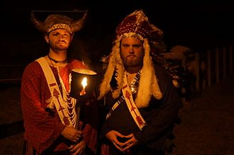 Order of the Arrow - Arrowmen dress in their ideas of  American Indian-style outfits to perform a public Call-Out ceremony