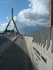 Traffic exiting the Big Dig tunnel onto the Zakim Bridge.