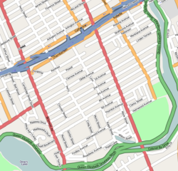 Map of The Glebe, with highway 417 being the northern border