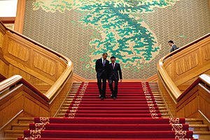 Foreign relations of South Korea - United States President Barack Obama and Lee walking after a meeting at the Blue House in Seoul in November 2010.