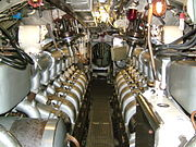 The diesel motors on HMS Ocelot charged the batteries located beneath the decking.
