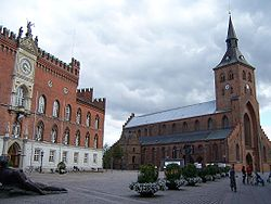 City hall and Cathedral in Odense
