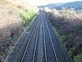 Old G&SWR main line. Mennock, Nithsdale. View from Mennock Pass Road over bridge towards Dumfries.jpg