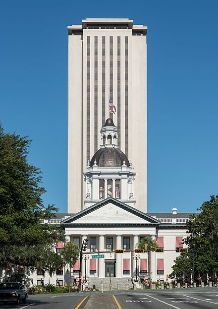 A view of both the historic and the current Florida State Capitols Old and New Florida State Capitol, Tallahassee, East view 20160711 1.jpg
