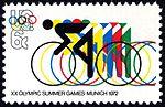 Olympic Games Munich Bicycling 6c 1972 issue U.S. stamp.jpg