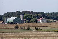 A typical North American grain farm with farms...
