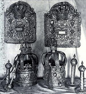 Opatów - Silver Tora Crowns and Jewish ceremonial objects from Opatów Synagogue lost in the Holocaust