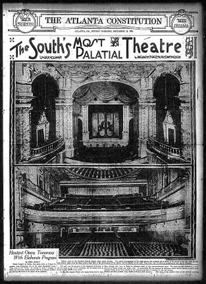 "Paramount Theater (Atlanta) - 1920 article in the Atlanta Constitution lauding the opening of the Howard Theater, ""the South's most palatial"""