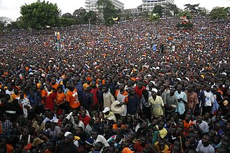 Orange Democratic Movement - ODM supporters at a political rally at Uhuru Park, 2007