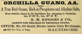 Guano Islands Act - Guano importation was major business, as this 1873 advertisement attests.
