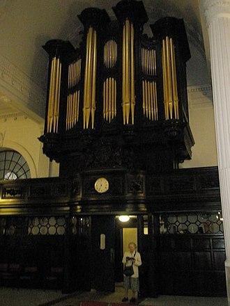 St Mary-at-Hill - The organ at St Mary-at-Hill Church.