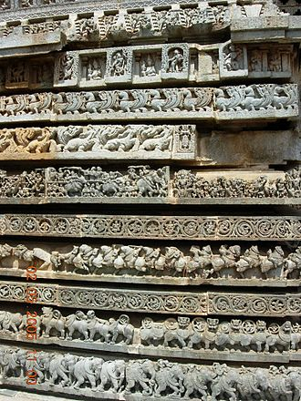 Frieze - Frieze of animals, mythological episodes at the base of Hoysaleswara temple, India