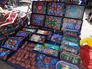 Culture of Ecuador - Hand painted crafts at the Otavalo Artisan Market