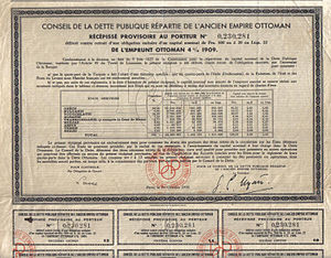 Defeat and dissolution of the Ottoman Empire - Ottoman Loan certificate, 1933; printed in French