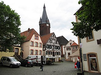 Ottweiler - Town square with the Old Tower in the background