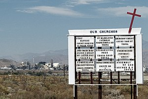 Searles Valley, California - Image: Our Churches sign in Trona, California