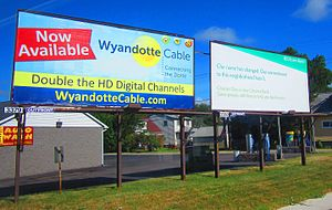 Outfront Media - Outfront Media billboards in Wyandotte, Michigan, advertising Wyandotte Municipal Services's cable television service and Citizens Bank